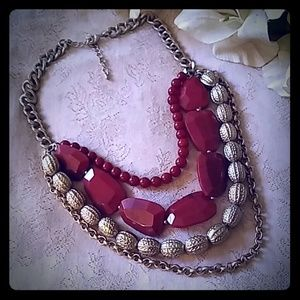 Vintage Jewelry - Vintage Burnt Orange Beads Statement Bib Necklace